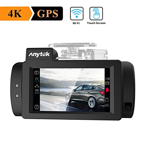 """WIFI Car Dash Cam 4K with GPS, Anytek Touch Screen Dashboard Camera Recorder Ultra HD 2160P 2.7"""" LCD 170° Wide Angle Video Recorder Camera,WDR,G-Sensor,Loop Recording,Super-Capacitor (G200)"""