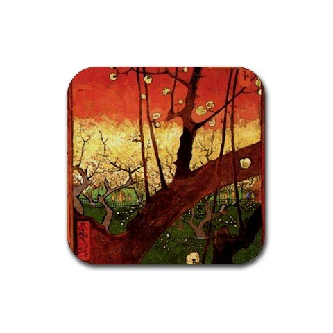 Japonaiserie Flowering Plum Tree after Hiroshige By Vincent Van Gogh Square Coasters ()