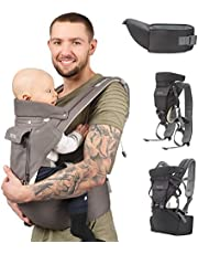 Sweety Fox - Multi-Position Baby Carrier with Hip Seat - for Babies & Child from 0 to 3 Years - Cotton and Mesh Breathable Fabric with Padding - Comfort and Safety with Adjustable Harness and Straps