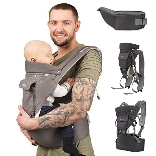 Sweety Fox – Multi-positie Babydrager met heupzitje – Voor baby's en kinderen van 3 tot 36 maanden – Ademende stof van…