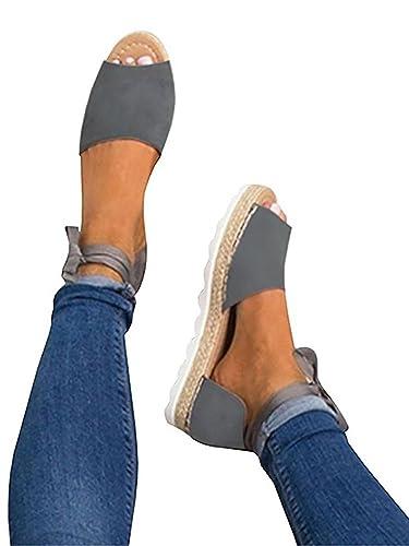 Pxmoda Damen Espadrilles Binden Flache Sandalen Peep Toe Klassische Espadrille Schuhe