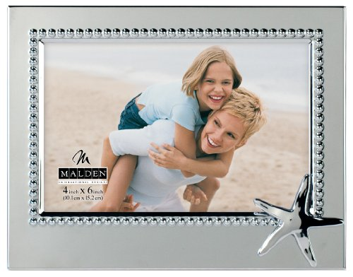 - Malden International Designs Vacation Memories Starfiish Silver Beaded Metal Frame, 4x6, Silver