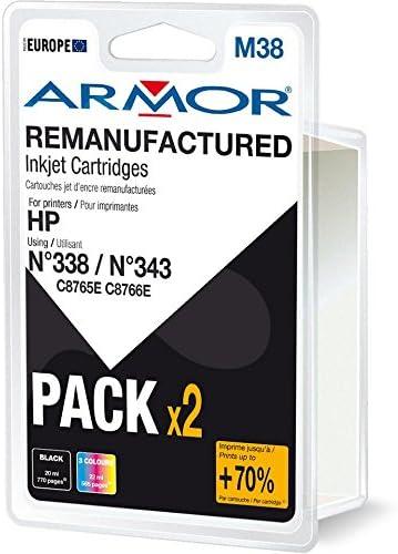 Pack de 2 Cartuchos Armor Compatible HP N ° 338/N ° 343: Amazon.es: Oficina y papelería
