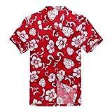 Men's Hawaiian Shirt Aloha Shirt 2XL Red Hibiscus