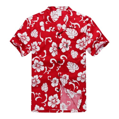 Palm Wave Men's Hawaiian Shirt Aloha Shirt (6XL, Red Hibiscus) ()