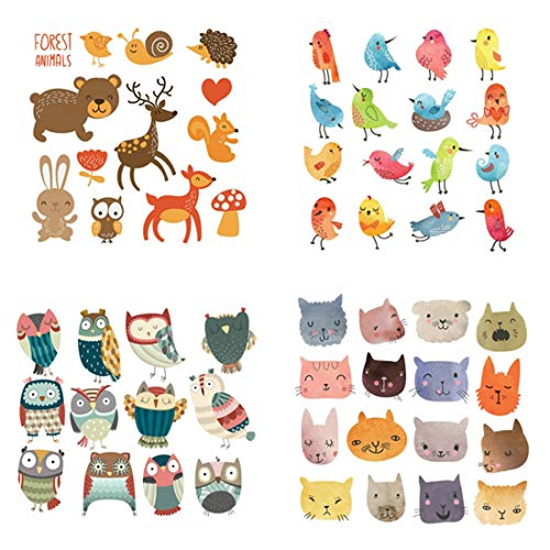 FineInno 4 Packs DIY Iron-on Transfers Cute Cat Animal Patches Appliques Vinyl Washable Sticker Decals Heat Thermal Transfers Printed Decor Accessories Kit for T-Shirt, Jeans, bags, Hats (cute animal)