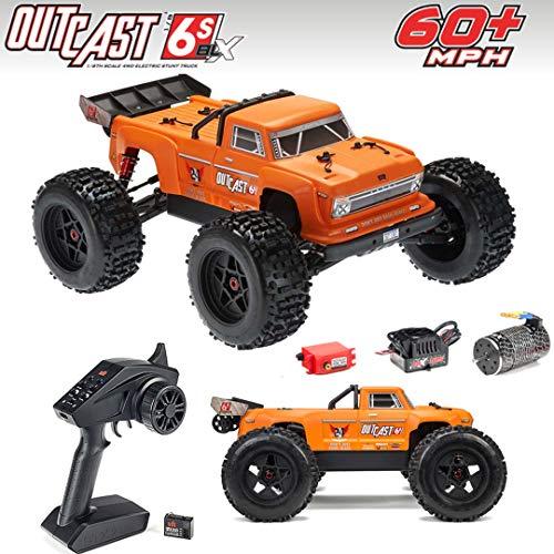 ARRMA 1/8 Outcast 6S BLX 4WD Brushless Stunt Truck RTR, Orange, ARA106042T2
