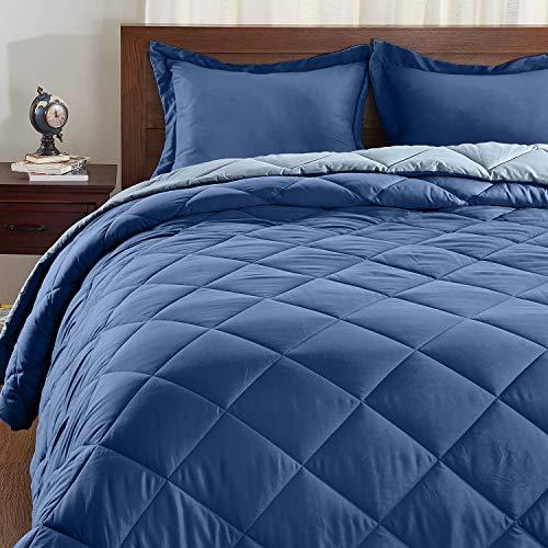 Basic Beyond Down Alternative Blue Glow/Navy Comforter Set King - Reversible Bed Comforter with 2 Pillow Shams for All Seasons