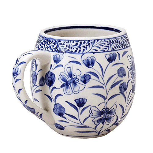 Hand Painted Ceramic Coffee Cup (Blue Floral Design) 'Toasty Morning Mug'