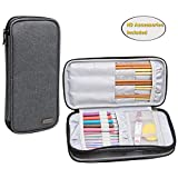 Teamoy Knitting Needles Case(up to 10-Inch), Travel Organizer Storage Bag for Circular and Straight Knitting Needles, Crochet Hooks and Knitting Accessories, Gray--NO ACCESSORIES INCLUDED