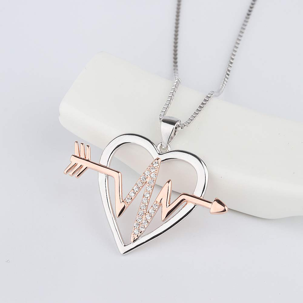 Aloha Jewelry Company Sterling Silver CZ Love Struck Heart Pendant with 18 Box Chain