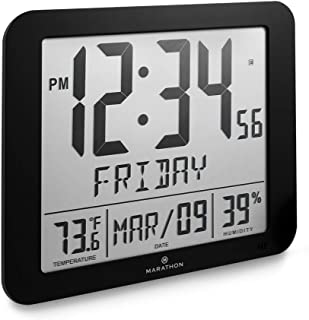 Marathon CL030067BK Slim Atomic Full Calendar Clock with Large 3.25' Digits, Indoor Temperature and Humidity. Batteries Included. Color- Black