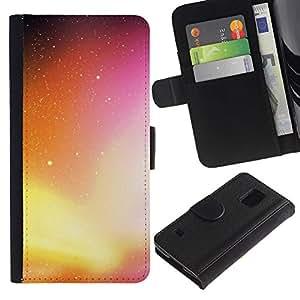 [Neutron-Star] Modelo colorido cuero de la carpeta del tirón del caso cubierta piel Holster Funda protecció Para Samsung Galaxy S5 V SM-G900 [Neon Galaxy]