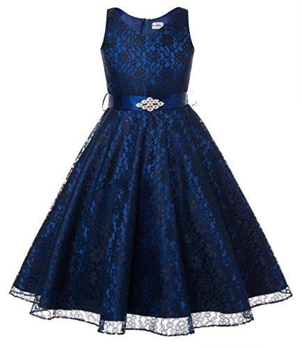 DressForLess Lovely Lace V-Neck Flower Girl Dress (Navy, 12) -