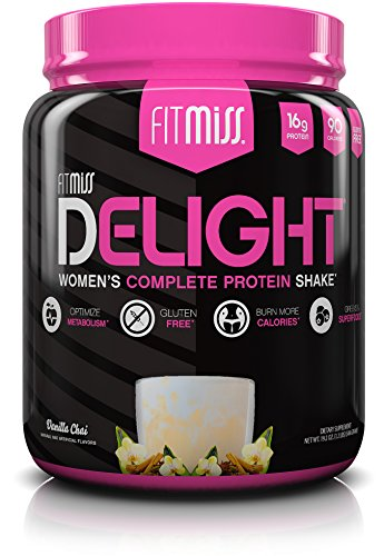 FitMiss Delight Protein Powder, batido nutricional saludable para mujeres, proteína de suero de leche, frutas, vegetales y enzimas digestivas, ayuda para la pérdida de peso y masa muscular magra, vainilla chai, 1.2 libras