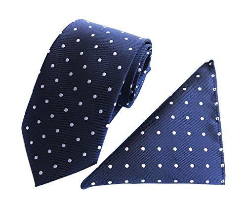 Men's Polka Dot Silk Self Ties in Navy Blue White Extra Long Kids Gifts Giving