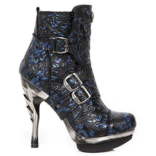 Heavy Rock Boots Rock Gothic Ankle Military New Women's Ladies Blue M PUNK098X Punk Heel Buckle S12 Urban Hww06qP