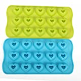 Always Your Chef 2 Pack 15-Cavity MINI Silicone Baking Cups Handmade Soap Mould, Candy Molds & Chocolates Molds & Ice Cube Trays, Heart- Shaped, Random Color