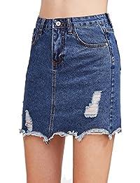 Women's Casual Distressed Fray Hem A Line Denim Short Skirt