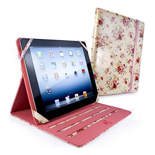Tuff-Luv Slim-Stand fabric case cover for Apple iPad 2 / iPad - Beige -Secret Garden