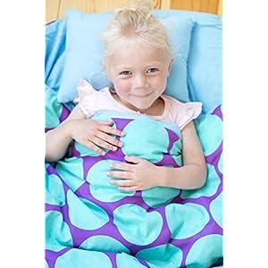 Wildkin Sleeping Bag Original Children's Sleep Sack with Matching Travel Pillow and Storage Bag, Cotton/Microfiber Exterior, 100% Cotton Flannel Interior, Children Ages 5-12 years – Big Dot Aqua