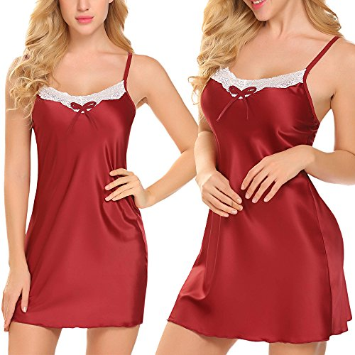 Adidome Womens Satin Nightgown Long Camisole Chemise (Red,XL) Floral Lace Nightgown