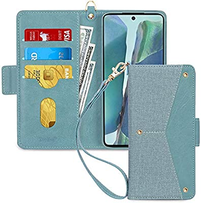 Samsung Galaxy S20 S20 5G Wallet Case,Toplive Folio Flip Wallet Case Cover for Galaxy S20 6.2 2020 with Kickstand Function Card Holders and Wristlet Hand Strap,Green
