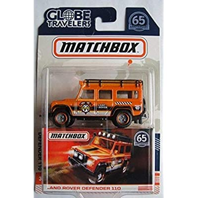 MATCHBOX GLOBE TRAVELERS ORANGE LAND ROVER DEFENDER 110 65TH ANNIVERSARY: Toys & Games