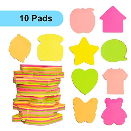 Sticky Notes - VANZAVANZU Super Self-Stick Notes, 10 Pads, 95 Sheets/Pad, 5 Mixed Bright Colors in 10 Different Shapes, Easy Post Notes (10 Pads)