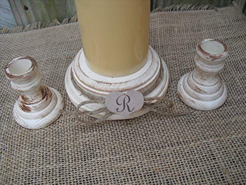 - Shabby Chic Wood Wedding Monogram Unity Candle Holder Set - You Pick Color - Item 1559