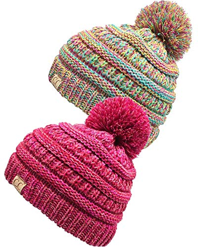 H-6847-2-816.4142 Kids Pom Beanie Bundle - 1 Rainbow #11, 1 Red/Pink #10 (2 Pack) ()