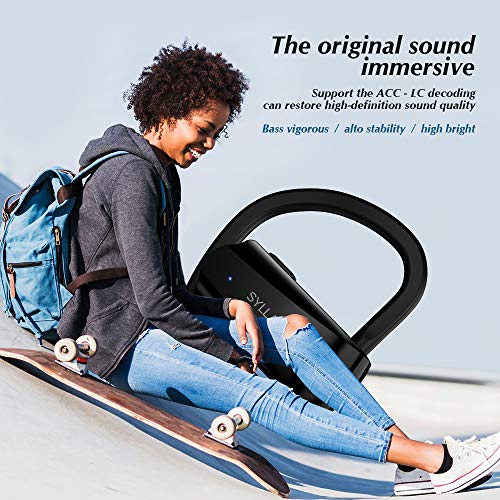 Running Headphones,Syllable Wireless Bluetooth Earbuds with Mic V 5.0 Hi-Fi Stereo Richer Heavy Bass Noise Cancelling Headsets Sweatproof Secure Fit in Ear 6 Hours Battery by Syllable (Image #5)