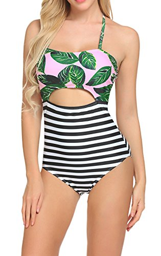 Women One Piece Swimsuit,Leave Printing High Waist Swimsuit Swimsuits (M, Leaves Printing)
