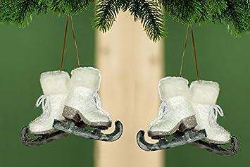 Sapin 2 x 2 patins à glace Décoration de Noël Blanc