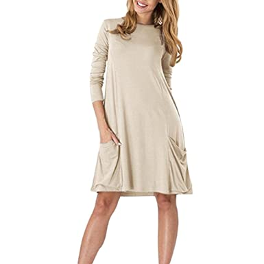 711ed4048a4e Khaki Swing Dress Jimmkey Tunic Dress Pocket Dress Long Sleeve Dress Knee  Length Dress autumn Dress