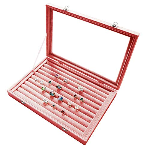 Wuligirl Clear Lid Velvet 7 Slots Ring Earrings Box Jewelry Case Showcase Display Storage Rings Stackable Lockable(Ring Box) ()