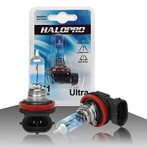 HaloPro H11 12V 55W 4300k Yellow Halogen Bulb Halogen Fog driving light,Low beam bulb,DRL light,ACURA Chevy GMC Dodge,Pack of 2pcs (55w Low Beam)