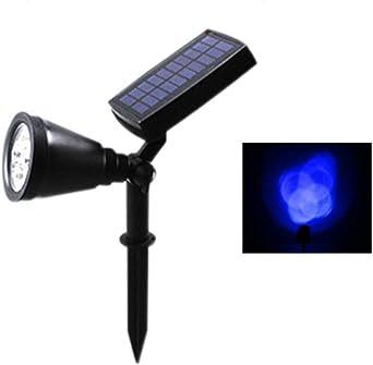 Lámpara De Césped Led Para Exteriores Jardín Panel Solar Potencia Ajustable Luz De Inundación Iluminación De Paisaje Azul 41 * 10 Cm: Amazon.es: Iluminación