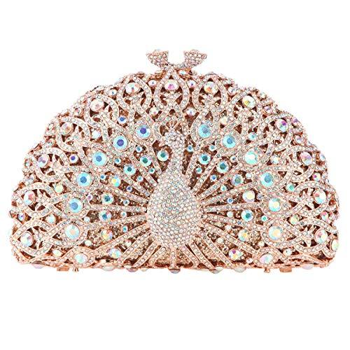Fawziya Luxury Crystal Clutches For Women Peacock