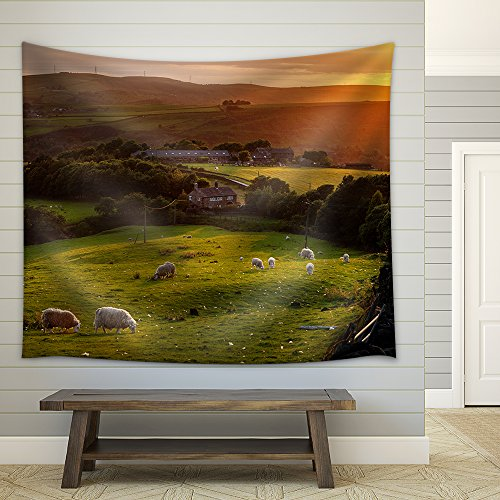 Sheep Grazing in a Beautiful Landscape in the British Countryside Fabric Wall
