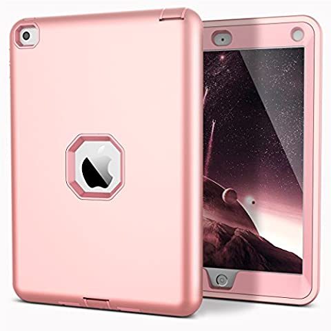 iPad Air 2 Case, CinoCase Triple Layer Heavy Duty Armor Protective Case High Impact Rugged Solid Hard PC with Outer Soft Silicon Rubber 3 in 1 Tough Cover for iPad Air 2 (iPad 6) Rose (Cool Ipad Air Case)