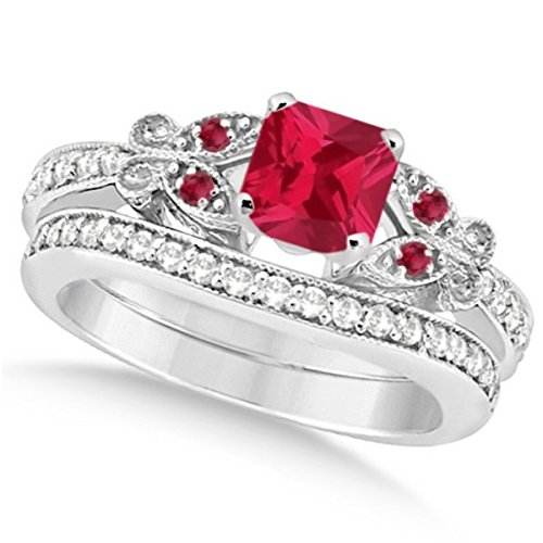 Preset Butterfly Ruby and Diamond Engagement Ring and Band Bridal Set 14k White Gold 1.53ctw