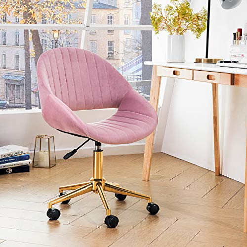 OVIOS Cute Desk Chair,Plush Velvet Office Chair for Home or Office,Modern,Comfortble,Nice Task Chair for Computer Desk. (Golden-Pink)