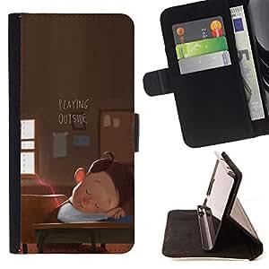 BullDog Case - FOR/Samsung Galaxy S4 IV I9500 / - / BOY SCHOOL DREAM CARTOON PLAYING ART /- Monedero de cuero de la PU Llevar cubierta de la caja con el ID Credit Card Slots Flip funda de cuer