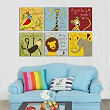 Canvas Painting 6 Pieces Modern Cartoon Animal Quotes Wall Pictures For Kids Bedroom Baby Room Wall Decor Prints Art No Frame (8x8inchx6pcs, No Frame)