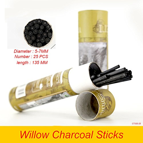 Willow Sketching Charcoal (Artist Willow Charcoal Sticks Water Basic Natural Charcoal Piece 25 PCS (Willow Charcoal Diameter 5-7mm))