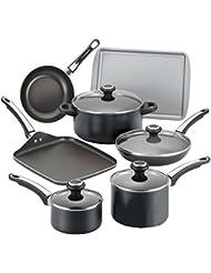 17 Piece Cookware Set Nonstick Farberware Kitchen Pans Pots High Performance Aluminum Non Stick New Black Hard...