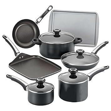 17 piezas Juego de batería de cocina antiadherente Farberware cocina sartenes ollas alto rendimiento Aluminio anodizado duro antiadherente Nueva Negro ...