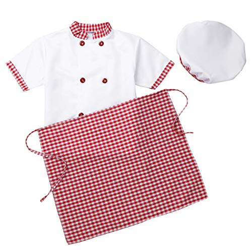 YiZYiF Unisex Kids Child Classic Master Chef Costume Dress up Cosplay Party Short Sleeves Jacket with Apron and Hat 3Pcs Set Plaid Red 8-10