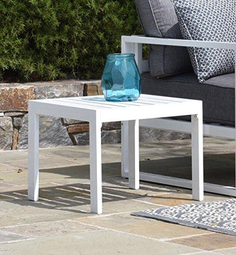 Elle Decor Paloma Outdoor Side Table, White - Elle Wood